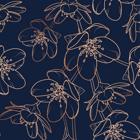 Cherry, sakura flowers bloom blossom seamless pattern texture. Copper gold shiny glow outline. Navy dark blue background.