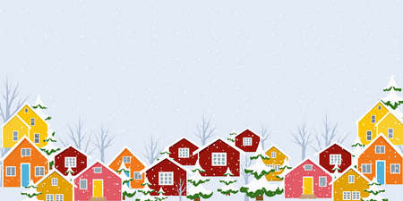 Winter town village countryside landscape. Snowing from the sky, colorful buildings, Christmas fir trees covered in snow. New year season holidays banner card template. Vector design illustration.