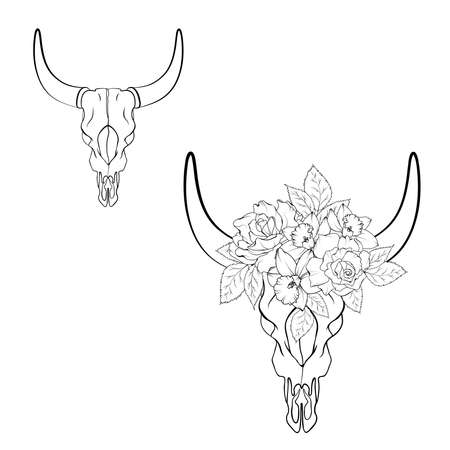 Illustration of the skull bull with wreath of flowers on line style isolated on white background. Black and white. Vector illustration.
