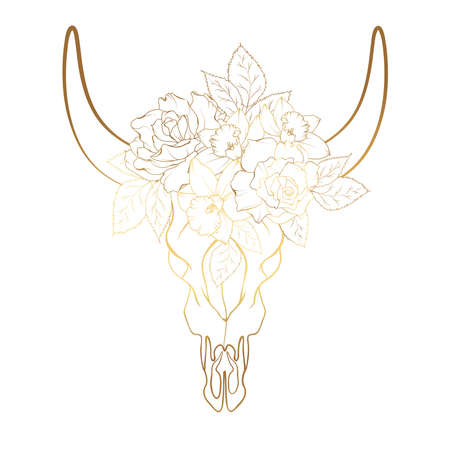 Bull cow cattle skull with horns. Rose peony flowers bouquet decoration. Luxury golden gradient line style design. Isolated object element on white background. Vector illustration.