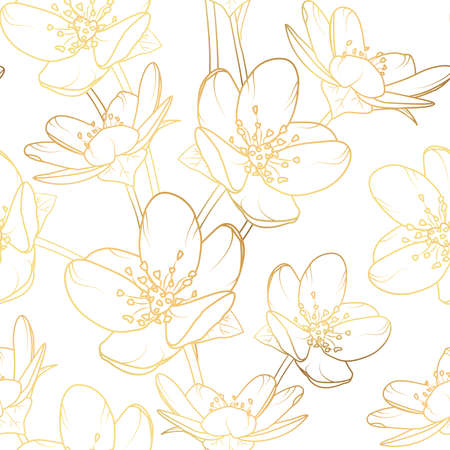 Cherry, sakura flowers bloom blossom seamless pattern texture. Pure gold shiny glow outline. White background. Vector illustration.