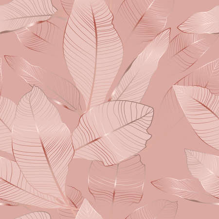 Banana palm tree leaves seamless pattern texture. Exotic tropical jungle forest. Copper gold shiny glow outline. Pink background. Vector design illustration for fashion, fabric, textile.