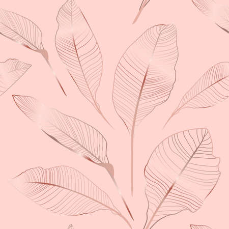 Tropical banana and exotic palm leaves seamles pattern. Textile composition, hand drawn style print. Copper, pure gold on pink background.