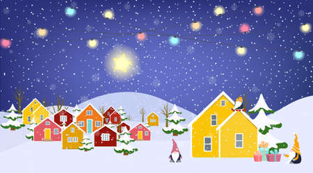 Winter village countryside landscape. Colorful buildings and garlands. Nordic gnomes cartoon characters. Gift boxes. Snow covered fir trees. Evening sky shining star. Christmas New Year season.