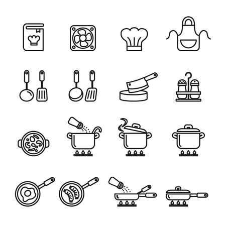 A cooking, kitchen tools and utensils icons set. Line Style stock vector. 版權商用圖片 - 80331980