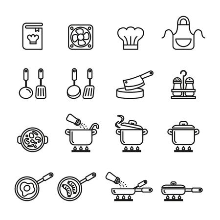 Een koken, keukengerei en keukengerei pictogrammen instellen. Lijnstijl voorraad vector.