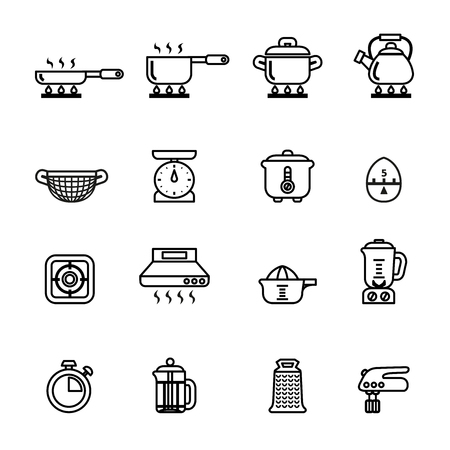 measuring cup: cooking, kitchen tools and utensils icons set. Line Style stock vector.