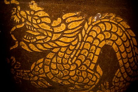 public domain: dragon drawing art on the jar of Thailand (Public Domain)