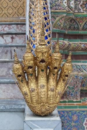 fearsome: Multi-headed naga - Wat pra keaw Bangkok Thailand Stock Photo