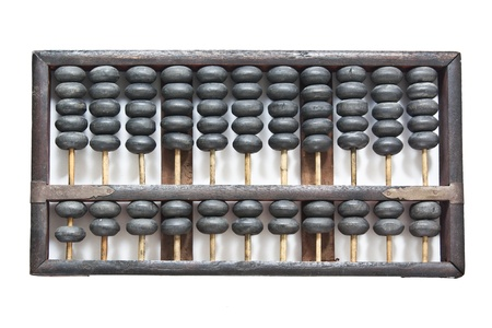 abaci: Old wooden abacus on white background