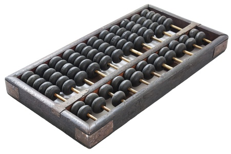 sums: Old wooden abacus on white background