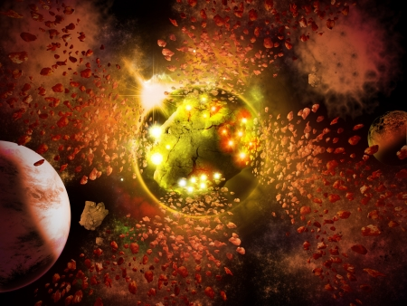 Abstract planet space with asteroids condense to new planet  Stock Photo - 15924652