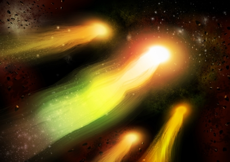 Sci-fi Vibrant Comets colorful space background photo