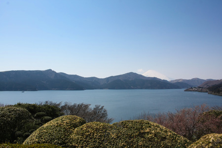 beautiful lake Kawaguchiko in japan, travel landscape photo