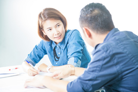 men tutor teach girl at home photo