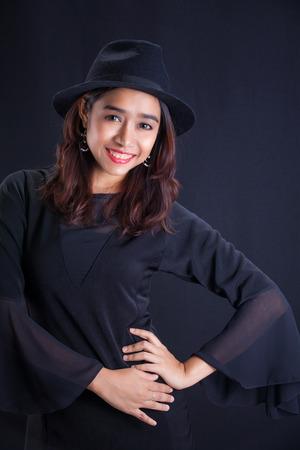 fancy girl: Portrait of Asian girl -fancy black dress Stock Photo