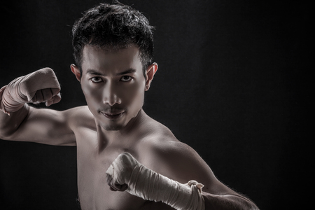 topless: Portrait of Asian man- Topless, boxer concept Stock Photo
