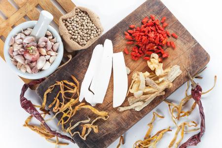 seasoning: Still life of asia seasoning on white - Mixed seasoning with Chinese herb Stock Photo