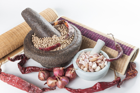 seasoning: Still life of asia seasoning on white - hot spicy seasoning