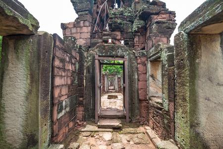 banian tree: Part of Phimai Historical Park popular among tourists ancient landmark and place of worship Stock Photo