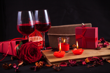 champain: Red rose decorate with red candle dry flower giftbox wind glass - Valentines day concept