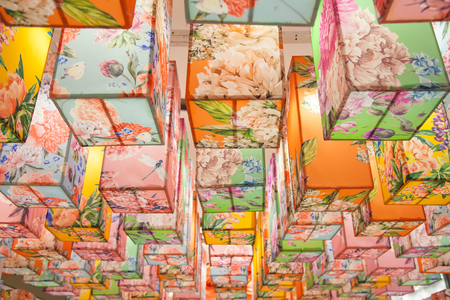 Abstract multi color pattern of ceiling square lantern, decorate ceiling lantern asian