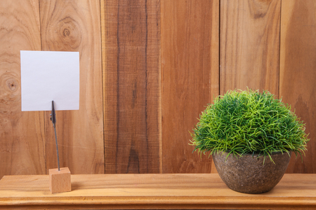 Idea concept - Note holder with blank note and plant on wood background