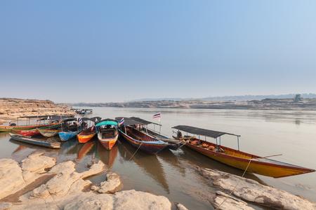 Taxi boats at Khong river, Sam pan bok, Thailand