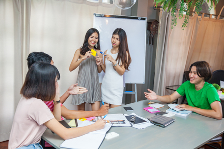 Young people meeting in the coworking space, Education, Business, Teamwork concept Stock Photo