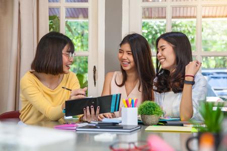 Group of beautiful Asian girls meeting and fun talk Stock Photo