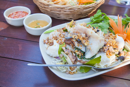 Boiled fish, spicy sour sauce, fish sauce, Lunch Thai food