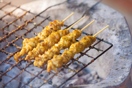 Cooking Grill Pork Satay , Thai food Stock Photo