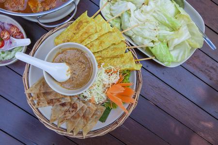 Pork Satay, Roti, peanut sauce, vegetable, Thai Lunch time