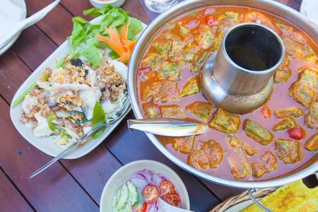 Hot and sour soup with boiled fish, Thai food Stock Photo