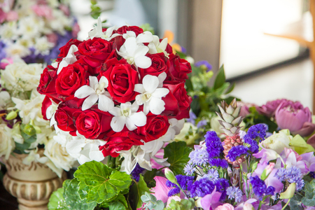 Fresh beautiful flower for decoration on the table with copyspace