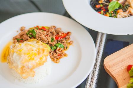 Basil pork fried egg with rice, Spicy Thai dish