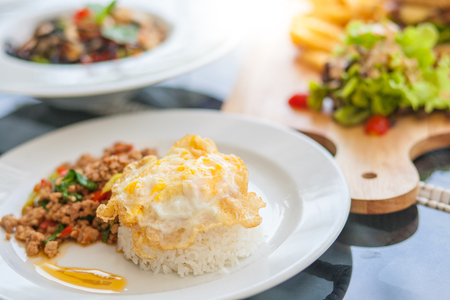 Basil pork fried egg with rice, Spicy Thai dish