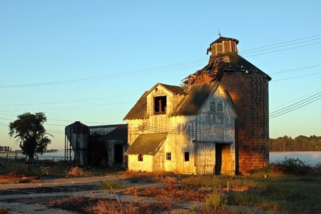 crumbling: crumbling barn and silo in Carmel, Indiana