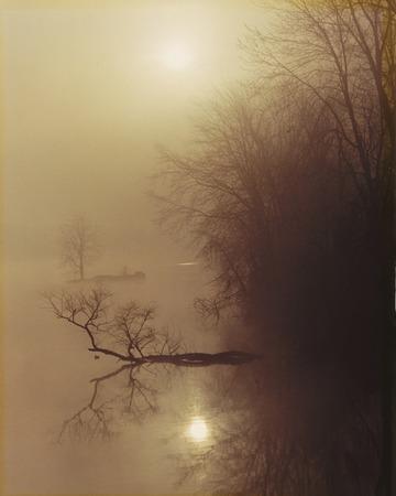 Foogy sunrise at Geist Reservoir near Indianapolis, Indiana. Stock fotó