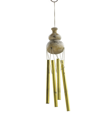 wind chimes: the calabash wind chimes on white background Stock Photo