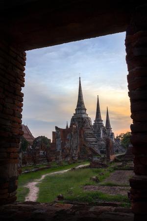 ajutthaya: Wat Phrasrisanphet in the sunset, Ayuthaya, Thailand Stock Photo