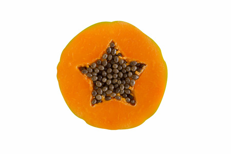 sweet segments: A portion of papaya, isolated on white background, file includes an excellent clipping path