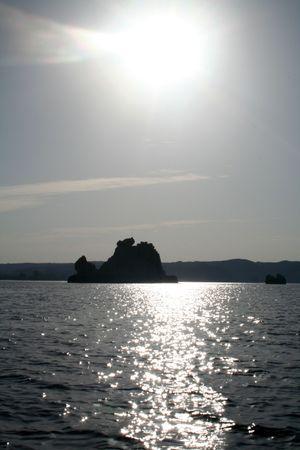 Sun Rise / Set Over Lake Nasser Desert Island Rock [Lake Nasser, Egypt, Arab States, Africa]. Stock Photo - 4208358
