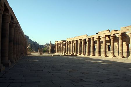 Philae Temple - Ancient Egyptian Monument [Agilkai Island, Near Aswan, Egypt, Arab States, Africa]. Stock Photo