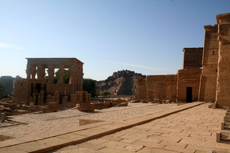 Philae Temple - Ancient Egyptian Monument [Agilkai Island, Near Aswan, Egypt, Arab States, Africa]. Stock Photo - 4208379