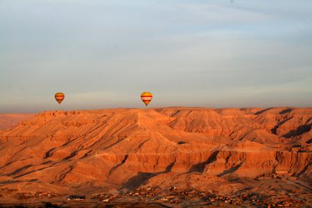 Hot Air Balloons [River Nile, Near Luxor, Egypt, Arab States, Africa]. photo