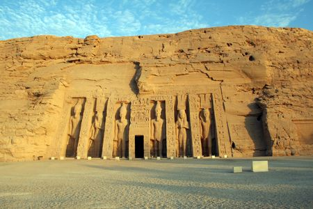 Abu Simbel Smaller Queens Temple - Temple of Hathor & Nefertari Stock Photo