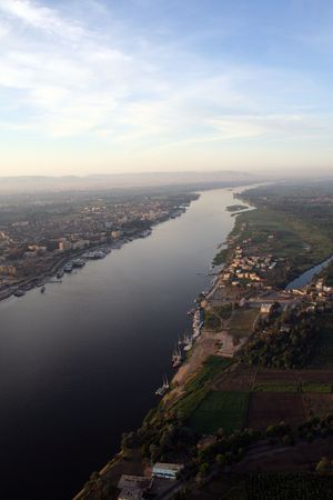 river banks: The River Nile - Aerial  Elevated View  from the Air