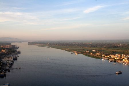 river bank: The River Nile - Aerial  Elevated View  from the Air