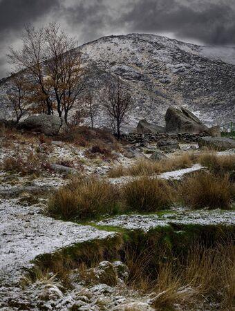 Winter in high mountain landscapes in the Sierra de Gredos, Spain.